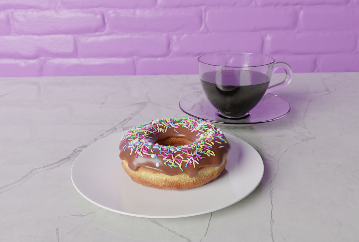 Coffee and donut with the final touches